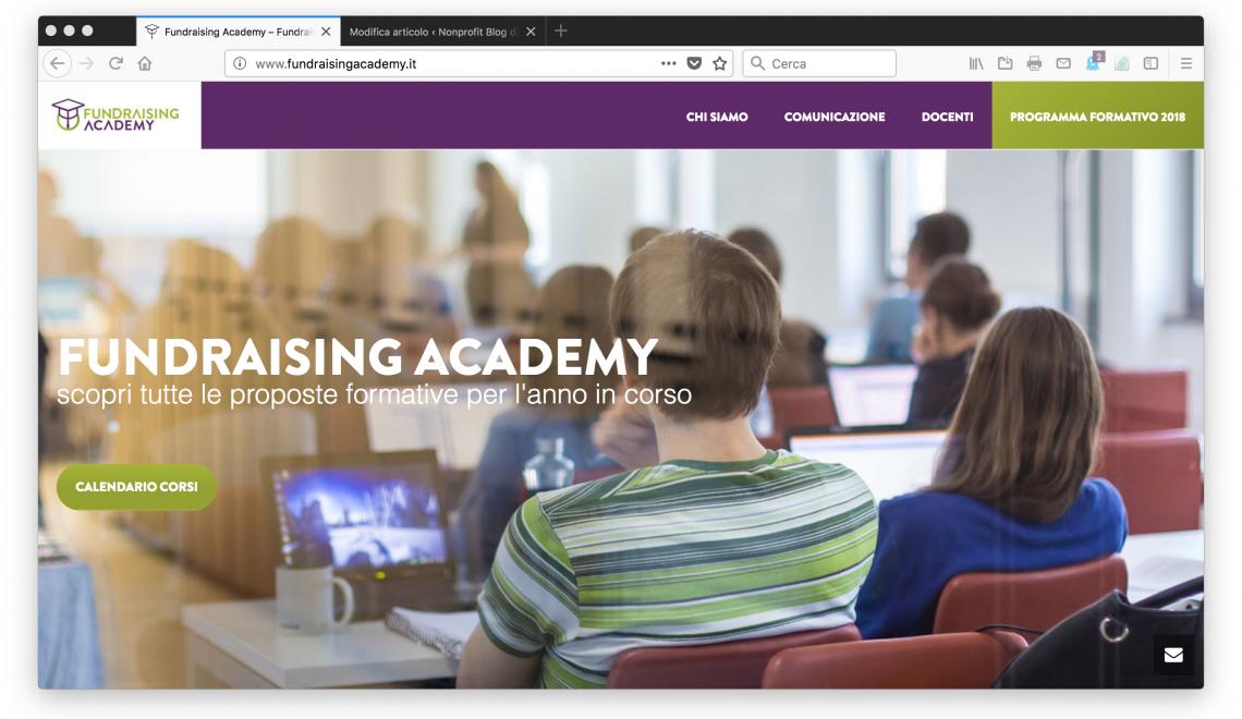 Fundraising Academy, online sito e calendario formativo 2018
